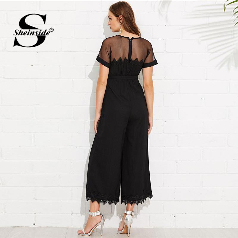 Sheinside  Mesh Shoulder Lace Hem Palazzo Jumpsuit Round Neck Short Sleeve Summer Jumpsuit Office Ladies Black Wide Leg Jumpsuit 1