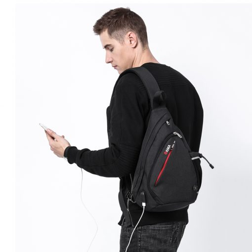 KAKA 2018 New Arrival Male Shoulder Bags USB Charging Crossbody Bags Men Anti theft Chest Bag Summer Short Trip Messengers Bag  2