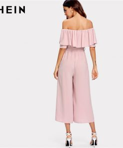 SHEIN Pink Off The Shoulder Flounce Belted Summer Women Jumpsuit 2018 Office Lady Work Solid Mid Waist Self Tie Culotte Jumpsuit 1