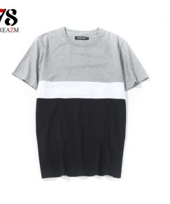2018 Brand New Men's Clothing patchwork long t shirt Hip hop StreetWear t-shirt Extra Long Length Tee Tops long line tshirt 1