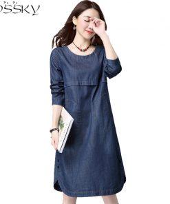 2017 Big Yard Autumn Women Jeans Dress Spring Ladies Office Long Sleeve Denim Dress Plus Size Female Clothing Vestidos De Festa