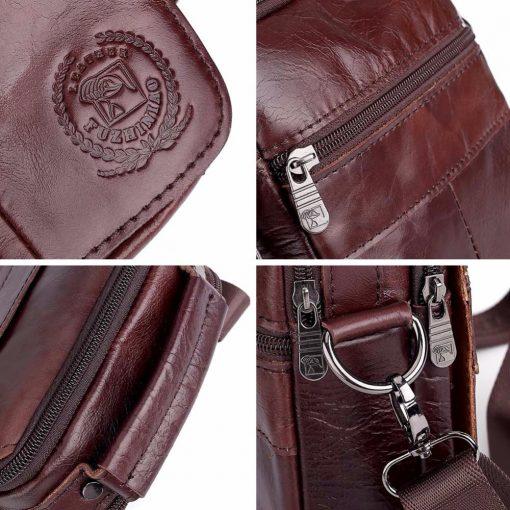 FUZHINIAO Designer Top Genuine Cowhide Leather Men's Shoulder Bag Clutch Handbag Messenger Male Bags Crossbody Sling Tote Small  5