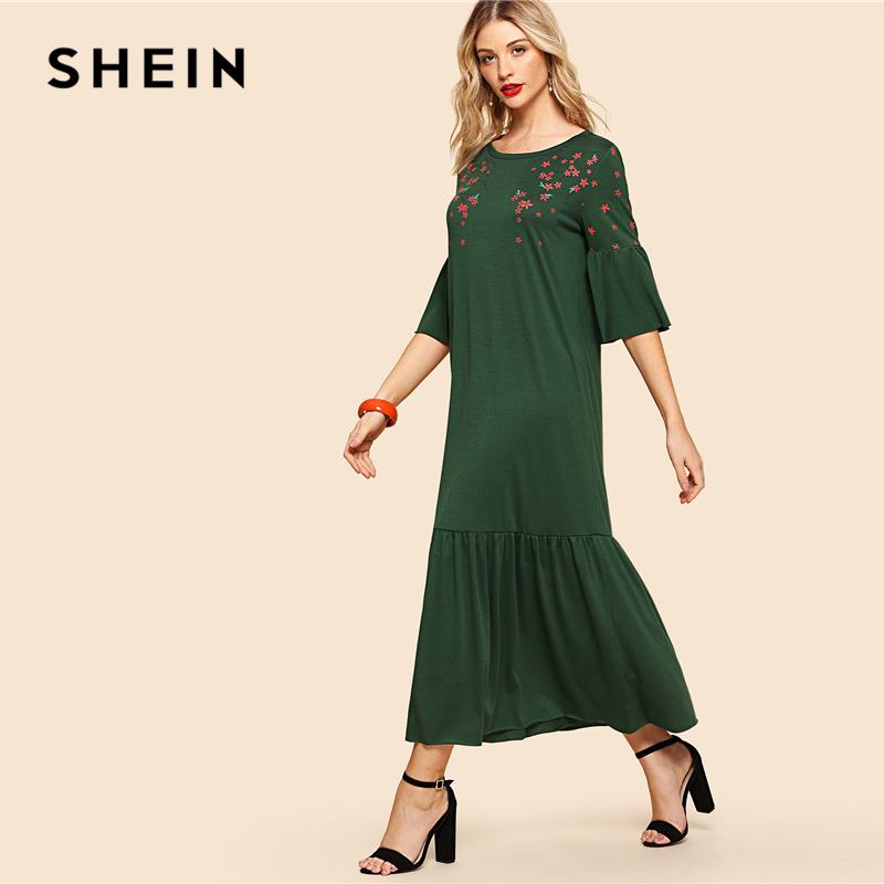 SHEIN Green Elegant Flower Blossom Print Flounce Fluted Sleeve Tiered Hem Round Neck Dress Summer Women Weekend Casual Dresses 1