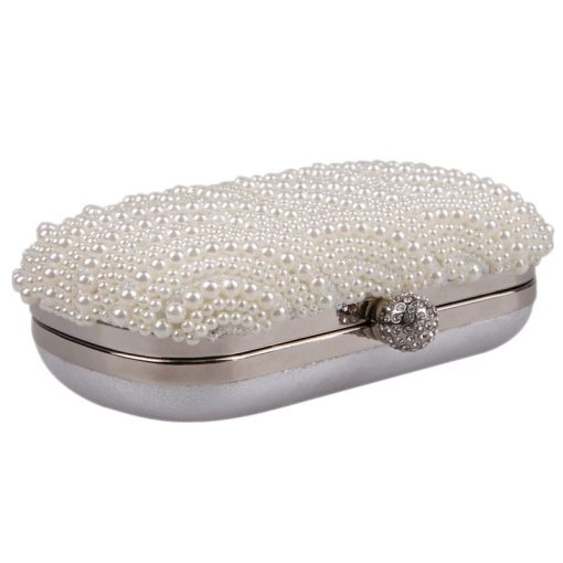 Oval Shaped Pearl Beaded Handbag Women White Clutch Bag Elegant Long Chain Shoulder Handbags Wedding Bridal Purse Clutch Female 3