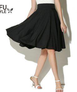 Midi Skirt Summer Women High Waist Pleated A Line Skirt Skater Casual Knee Length Saia Petticoat Black White Autumn Vestidos