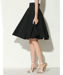 Midi Skirt Summer Women High Waist Pleated A Line Skirt Skater Casual Knee Length Saia Petticoat Black White Autumn Vestidos 1