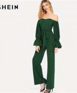 SHEIN Green Elegant Workwear Sweetheart Neck Flounce Sleeve Belted Bardot Ruffle High Waist Summer Casual Jumpsuit For Women 1