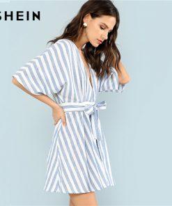SHEIN Deep V Neck Button Front Striped Dress 2018 Summer Blue Striped Half Sleeve Dress Women Batwing Sleeve Belt Halter Dress 1
