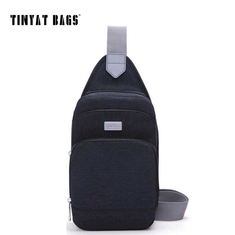 TINYAT Casual Men's chest bag women messenger bag Portable Crossbody bag waterproof nylon shoulder bag t606 black/Blue
