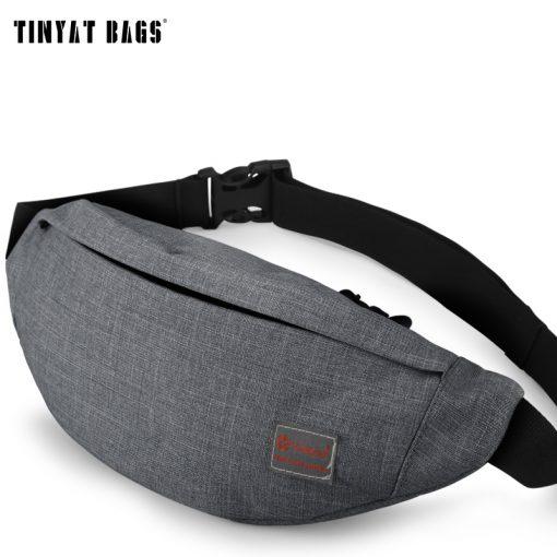 TINYAT Men Canvas Backpack School Casual Laptop Backpack Gray Composition Bags Leisure Male Waist Belt Bag Crossbody t101 t201  4