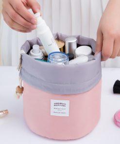 Do Not Miss High Capacity Women Barrel Shaped Cosmetic Bag Drawstring Travel Make Up Bags Wash Bag Makeup Organizer Storage Bags 1