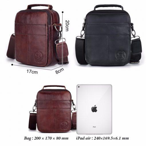 FUZHINIAO Designer Top Genuine Cowhide Leather Men's Shoulder Bag Clutch Handbag Messenger Male Bags Crossbody Sling Tote Small  3