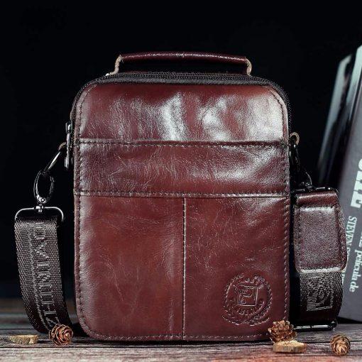 FUZHINIAO Designer Top Genuine Cowhide Leather Men's Shoulder Bag Clutch Handbag Messenger Male Bags Crossbody Sling Tote Small  4