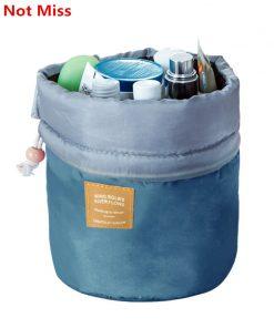 Do Not Miss High Capacity Women Barrel Shaped Cosmetic Bag Drawstring Travel Make Up Bags Wash Bag Makeup Organizer Storage Bags