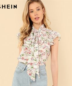 SHEIN Multicolor Elegant Floral Print Flutter Sleeve Tied Neck Botanical Ruffle Blouse Summer Women Weekend Casual Shirt Top