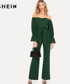SHEIN Green Elegant Workwear Sweetheart Neck Flounce Sleeve Belted Bardot Ruffle High Waist Summer Casual Jumpsuit For Women