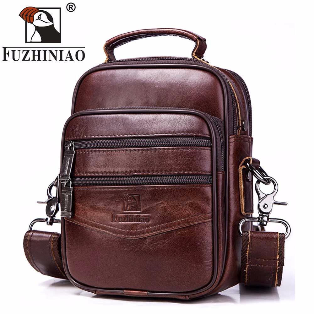 FUZHINIAO Brands Handbags Flap Genuine Leather Shoulder Bags Vintage Style Male Small 2018 Promotion Designers Messenger Bag 1