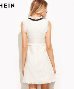 SHEIN Women Autumn Dresses Ladies White Party Dresses Bow Tie Neck Sleeveless Elegant Frayed Trim Tweed Dress 1