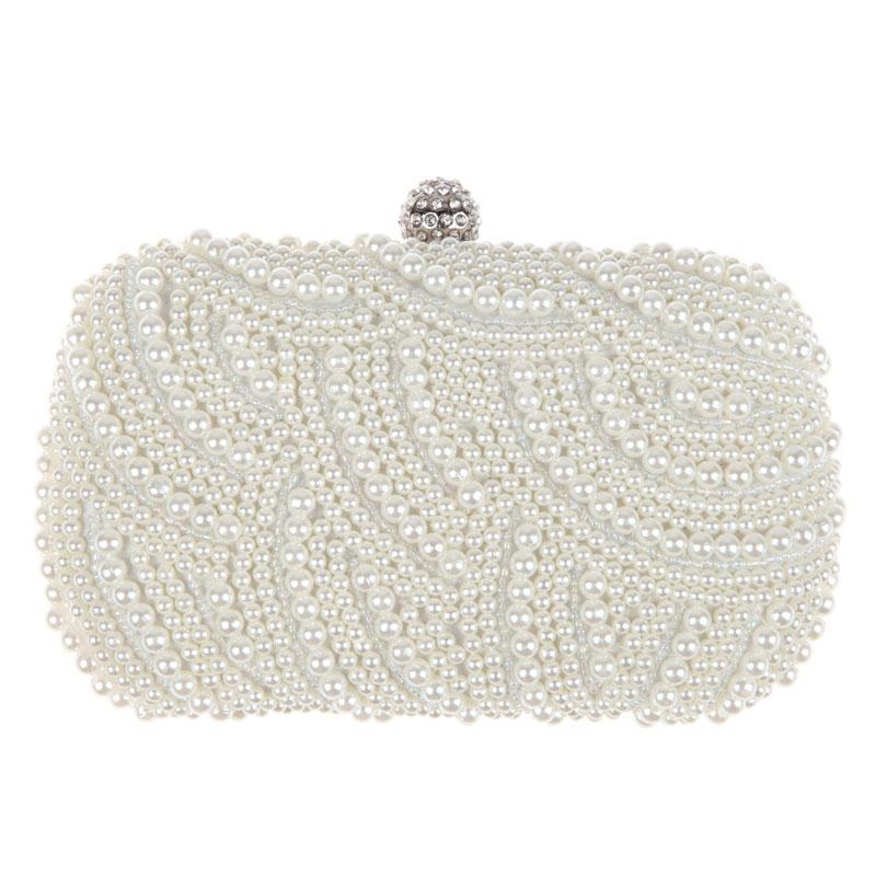 Oval Shaped Pearl Beaded Handbag Women White Clutch Bag Elegant Long Chain Shoulder Handbags Wedding Bridal Purse Clutch Female