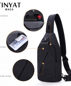 TINYAT Summer Design Male Crossbody Bag Shoulder Bags for Men Fit For 7.9 inch Ipad Functional Waterproof Travel Chest Pack T609 1
