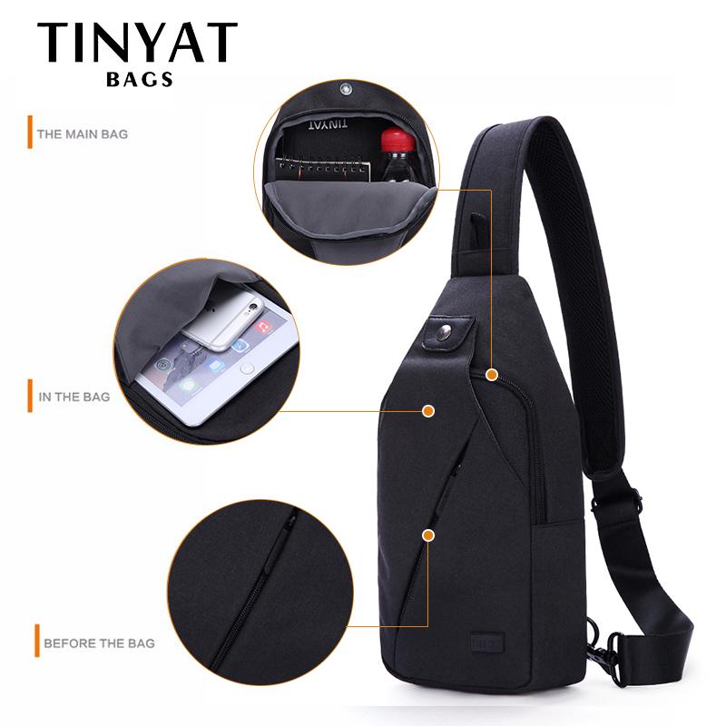 TINYAT Summer Design Male Crossbody Bag Shoulder Bags for Men Fit For 7.9 inch Ipad Functional Waterproof Travel Chest Pack T609 1