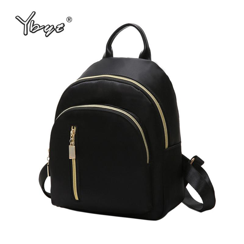 YBYT brand new nylon casual women rucksacks preppy style black small bags girls student school bookbags ladies travel backpacks