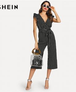 SHEIN Black and White Elegant Vertical Stripe Ruffle Detail Wrap Deep V Neck Belted Jumpsuit Summer Women Workwear Jumpsuit