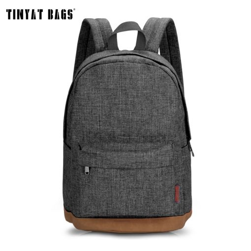 TINYAT Men Canvas Backpack School Casual Laptop Backpack Gray Composition Bags Leisure Male Waist Belt Bag Crossbody t101 t201  1