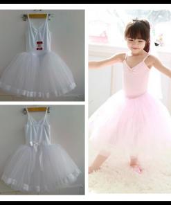 New Girls Ballerina Long Skirted Camisole Leotard Ballet Dress Pink White Ballet Dancewear
