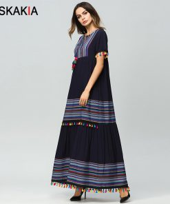 Siskakia Ethnic Women Dress Multicolor Tassel Tie Up Elegant A Line High Waist Robe Gowns maxi long Dress Navy Holiday 2018 new 1