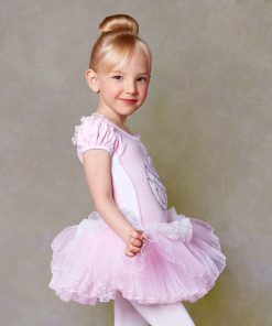 Girls Ballet Dress Dance Clothing Pink Short Sleeved Lace Swan Lake Ballet Costumes 1