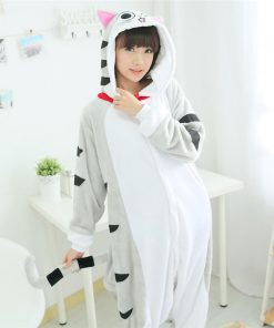 Flannel Soft Cat Kigurumi Pajama for Adult Man Women Winter Warm Jumpsuit Anime Costume Onesie Cosplay 1