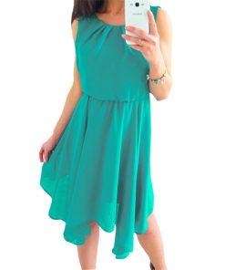 Boho Summer Chiffon Dress 2018 New Fashion Beach Sundress Women O-Neck Sleeveless Pleated Party Dresses Solid Sexy GV552