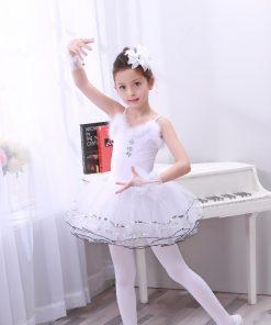 New White Swan Ballet Costumes Tutu Ballet Enfant  Dance Costume Kids Feather Roupa Ballet Menina