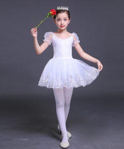 Short Sleeve Dance Dress Girls Lace Ballet Dancer Swan Lake White Cotton ballet skirt Dance Costumes Dress for a Ballerina