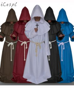 Medieval Monk Cosplay Costumes Wizard Hooded Robe Friar Priest disguise Church Cowl Apparel Men Adults Fancy