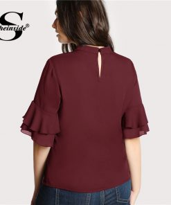 Sheinside Plus Size Burgundy Choker Neck Ruffle Sleeve Casual Blouse Women V Neck Cut Out Elegant Blouses 2018 Autumn Blouse 1