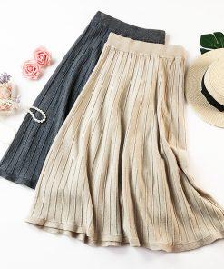 2018 Autumn Women Knitted Long Skirts High Waist A-Line Women Winter Thick Long Skirts Black Brown Midi Skirt Female Saia Faldas