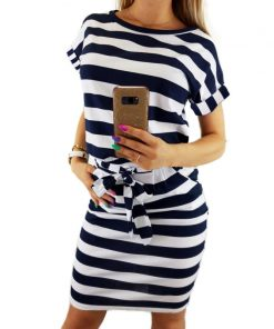 Elegant New Striped Summer Dress 2018 Women Casual Vintage Dress Sexy Bandage Bodycon Short Sleeve Dresses Sundress Robe GV560 1