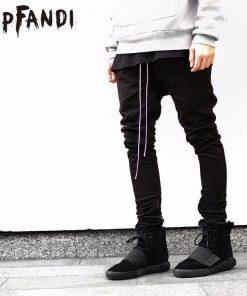 HIPFANDI Newest Hip Hop Men fear of god fog justin bieber style skinny slim long stripe zippers pants jogger in  kanye west