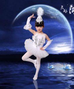 New Girls Ballerina Dress Kids White Swan Lake Ballet Costumes Children Strap Dance Wear Costume Danse Classique Enfant 1