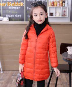 2018 thin long down jacket for girl cuhk virgins children's clothes keep warm hooded girls parka coats kids boys winter coat