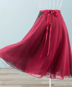 Dancers Double Layers Adult Ballet Wrap Skirt With Waist Tie Women's Ballet Dance Long Chiffon Cover up for Dance Class 1