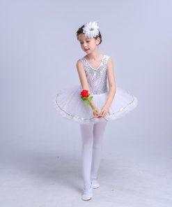 Sequins Girls Lace Ballet Dance Gymnastics Leotard Dress Children Dance Costumes Female Ballet Princess Skirt 1