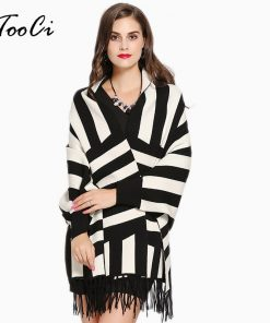 2018 Women Autumn Winter White Tassel Poncho Cardigan Feminino Scarf Shawl Ladies Stripe Knit Cashmere Female Poncho And Capes
