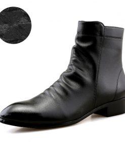 JUNJARM 2017 Fashion Men Shoes Soft Leather Men Boots Men Waterproof Warm Shoes Black Comfortable Men Ankle Boots 1