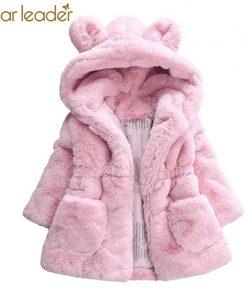 Bear Leader Girls Coats 2018 New Winter Fashion Rabbit Ears Fur Coat Hooded Full Sleeve Thickness Kids Coats For 2T-7T