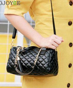 Women Crossbody Bags Female Handbag Famous Brands Luxury Leather Tassel Bags Chain Shoulder Plaid Lady Messenger Bag sac femme 1
