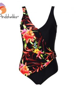 "Andzhelika Women New One Piece Swimsuit Sexy Deep ""V"" Swimwear Floral Patchwork Plus Size 2XL-6XL Bodysuit Bathing Suit Monokini 1"