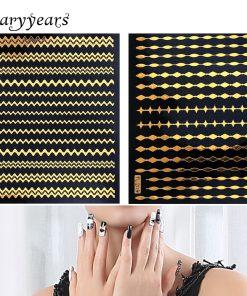 12 Gold Design 1pc Nail DIY Metallic Decal Nail Sticker Polka Dot Line Strip Form Women Manicures Nail Art Tool Nail Sticker New